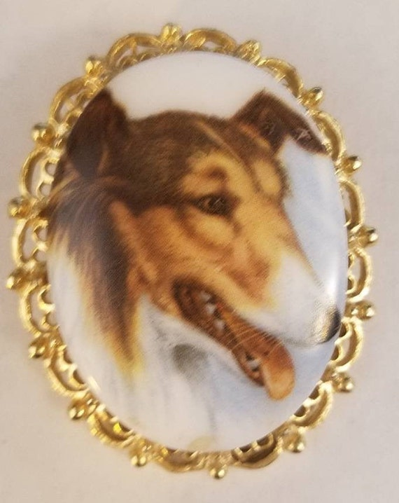 Collie Dog Brooch, Rough Collie Pin