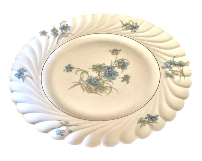 Set of 4 Haviland Bergere Luncheon Plates, French Lunch Plates, Limoges China Blue Floral Plates