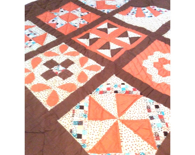 Quilted Wall Hanging | Lap Size Quilt | 70s Quilt | Handmade Lap Quilt | Sampler Quilt