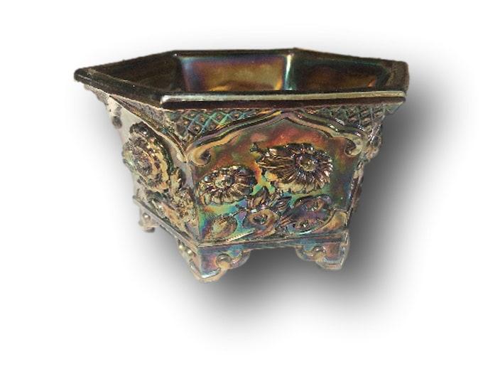 Vintage Fenton Carnival Glass Bowl | Fenton Amethyst Chrysanthemum | Fenton Glass Hexagonal Planter