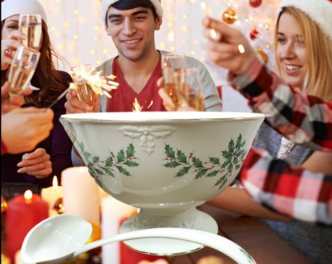 Holiday Punch Bowl | Lenox Dimension Pedestal Punch Bowl and Ladle