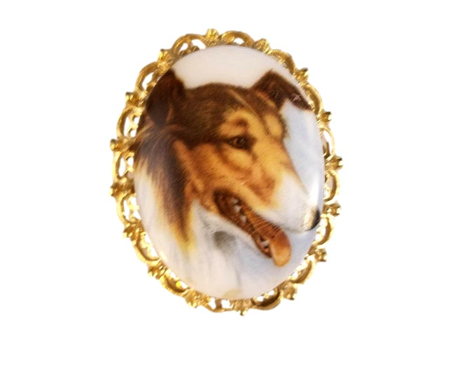 Vintage Collie Dog | Costume Jewelry Brooch | Rough Collie Pin | Dog Lover Gift Idea