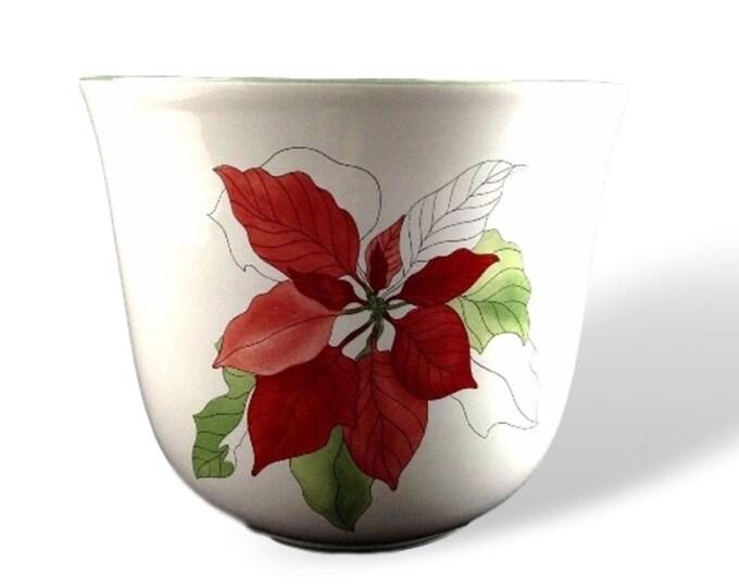 Block China |  Red Poinsettia | Medium Cache Pot