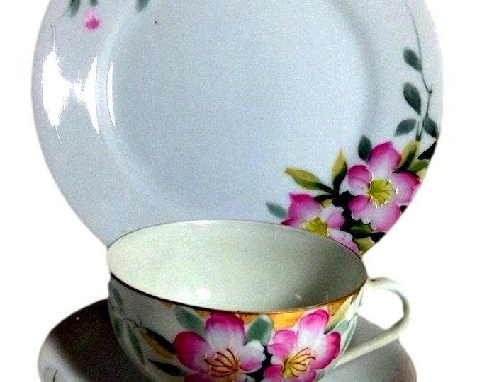 Japanese Teacup Set | Noritake Morimura Azalea | Cup Saucer Plate Vintage Dessert Trio Set