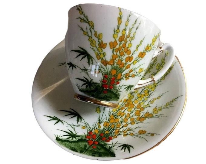 Gift Under 50, Royal Stafford, Teacup Saucer Set, Broom Pattern, English Bone China