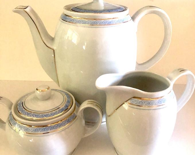 Bavarian China | Jaeger Eisenberg Serve Ware | Teapot, Creamer, Sugar Bowl Set | Mid Century