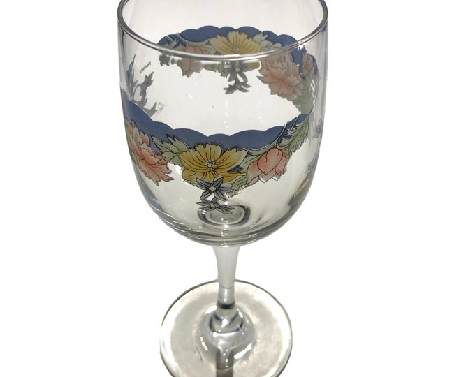 Gifts Under 50   Arcopal Wine Goblets   Florine by Arcopal   Vintage Wine Goblets   Floral Wine Goblets   Set of 4   French Crystal Goblets