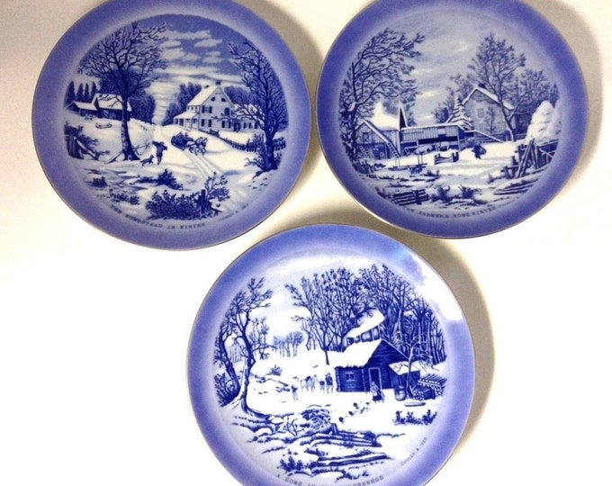 Limited Edition Wall Plates   3  Plates For Wall Decoration   Currier Ives Winter Scenes    Wall Art Plates