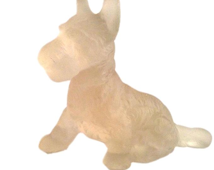 Dog Figurine | Satin Glass Dog | Scottie Dog | Scottish Terrier | LE Smith