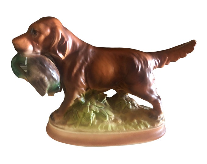 Vintage Brown Retriever | Hunting Dog Figurine | With Mallard Duck | Japanese EIHO Figurine