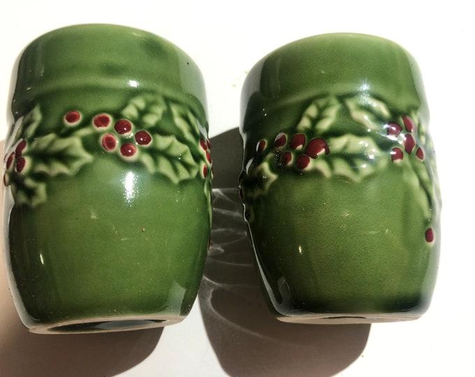Christmas Salt & Pepper Shakers |  Holly Berries Shakers | Green Embossed Christmas Salt and Pepper Shakers