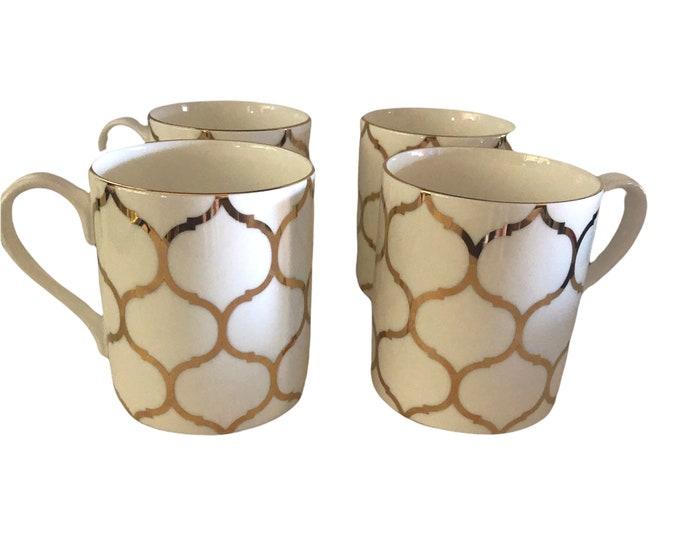 Jumbo Set 4 Fitz And Floyd Coffee Mugs | Nevaeh White Gold Lattice Mugs