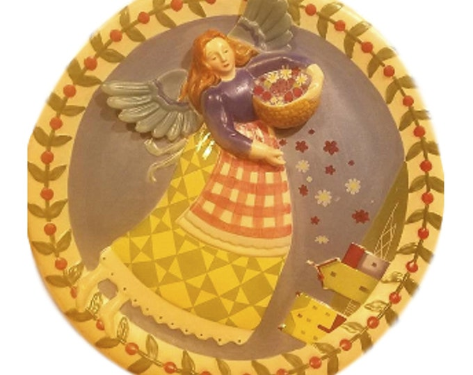 Gifts Under 50 | Jim Shore | Sculptured 3D Plate | Heartwood Creek  | Angel Lover Gift