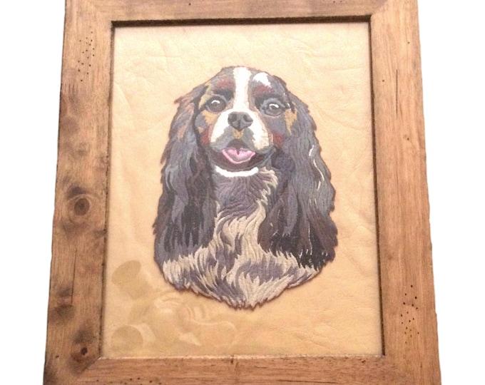 Pet Portrait   Dog Memorial   Hand Made Dog Art   Wall Hanging   Framed Wall Art   Embroidered Dog Art