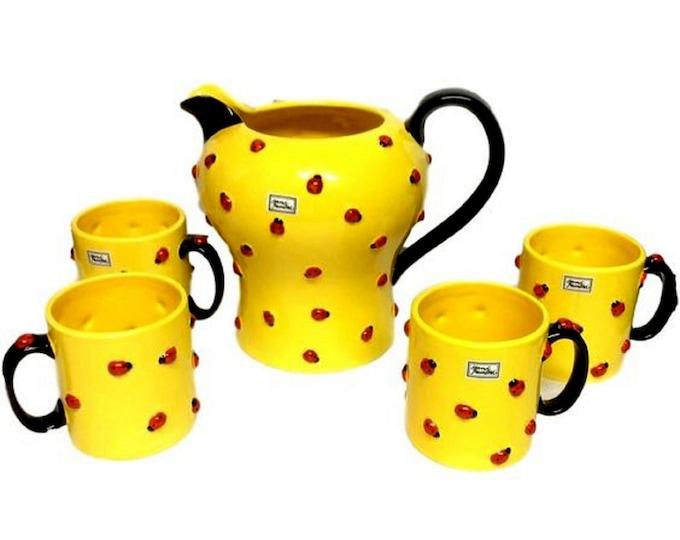 Department 56 Tea Set | Lemonade Pitcher | Lady Bugs |  Yellow Set | Serving Set