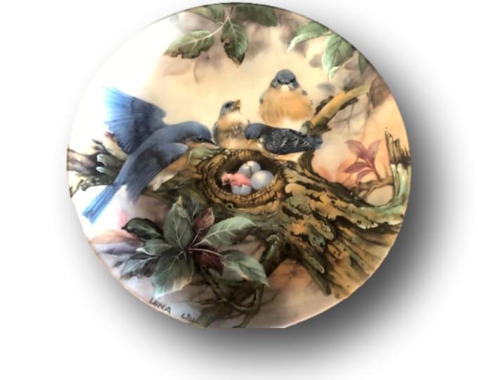 Bluebird Plate For Bird Lovers | Gift Under 50 | Bluebird Wall Plate | Lena Liu Collectible Plate