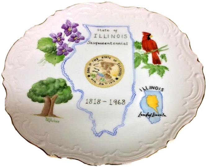 Hand Painted Collector Plate, Illinois State Wall Plate