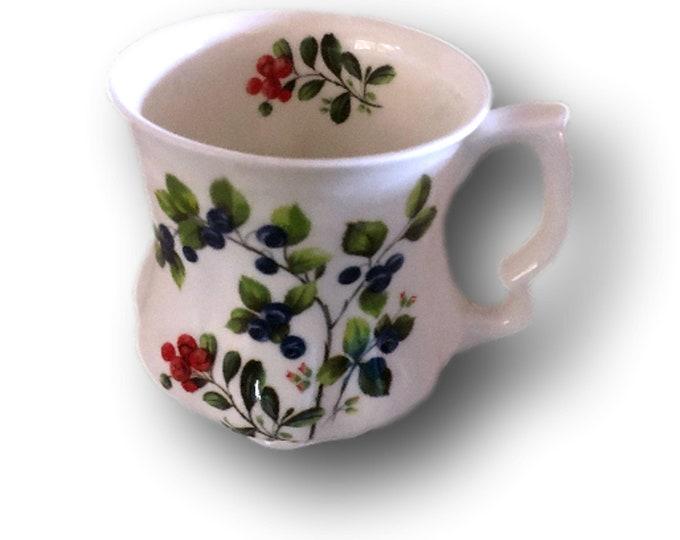 Staffordshire Fine Bone China Mug | English Mug | David Michael China Mug | Red Purple Berries Mug