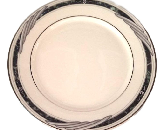 Lenox China   Elegant Salad Plate   Gift Under 50   Black & Gray Trim