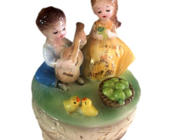Vintage Music Box | Josef Originals Music Box | Little Green Apples