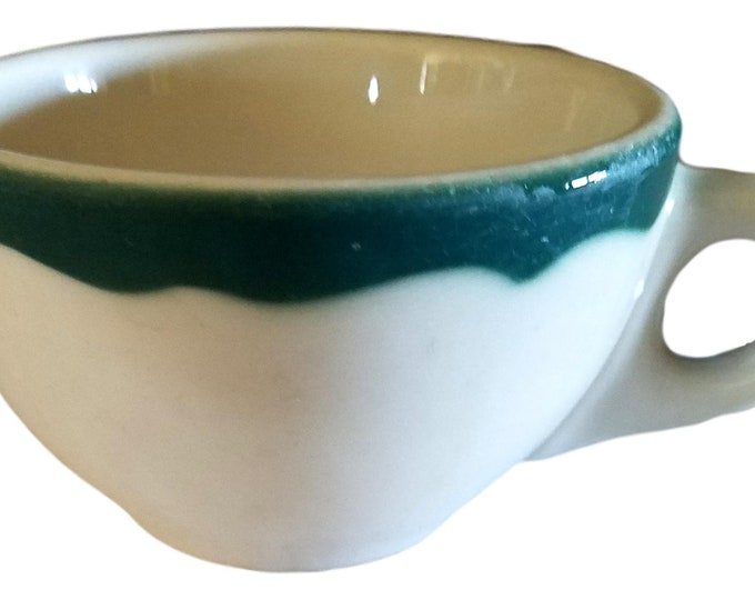 Syracuse China Restaurant Ware, Green Rimmed Pottery Coffee Cup, Wintergreen Pattern