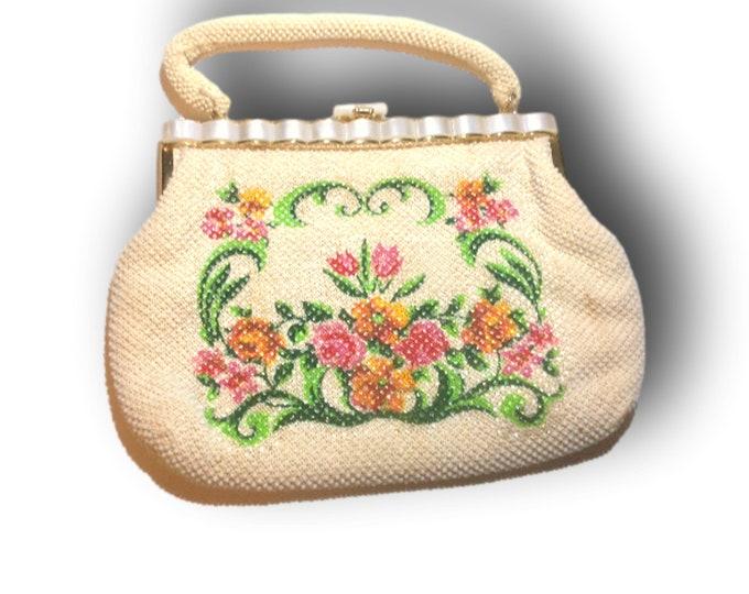 Vintage Floral Handbag| Beaded Purse | Gift For Christmas