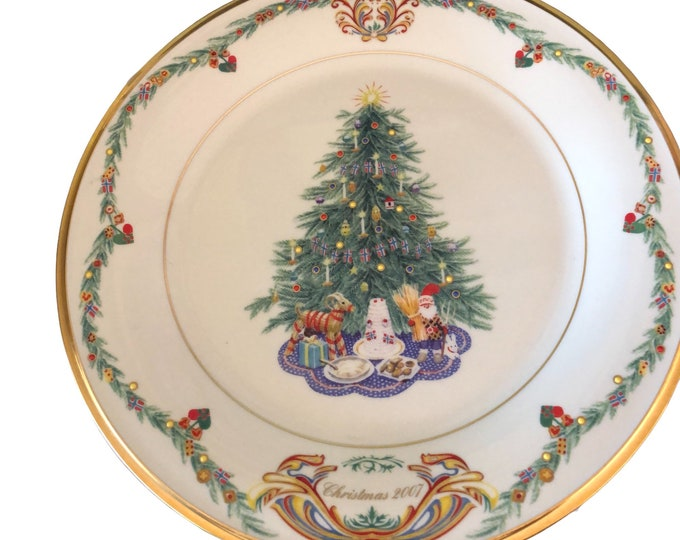 Norwegian Christmas Plate | Annual Limited Edition Plate | Christmas Trees Around World Plate | Lenox Wall Hanging Plate