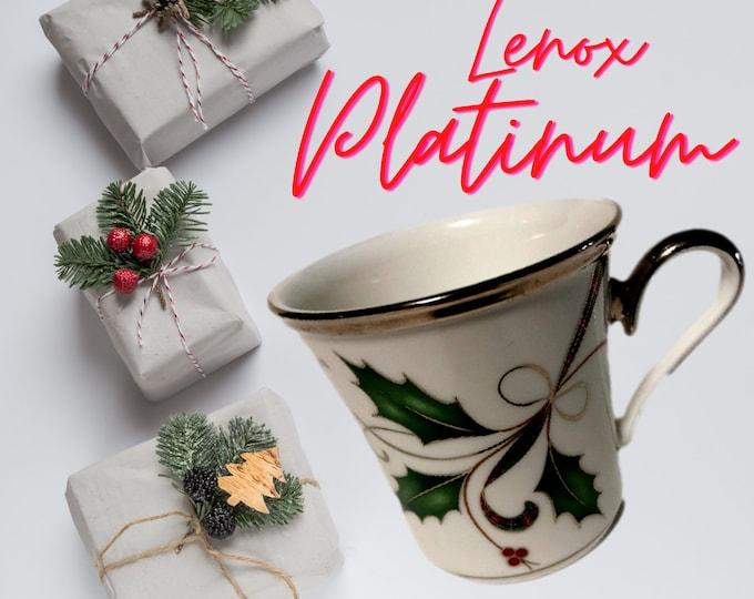 Rare Lenox Platinum Mugs | Lenox Holiday Nouveau Mug Set of 4 Coffee Cups