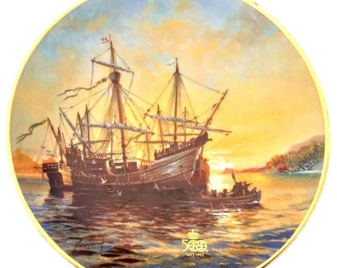 Wall Plate | Gift Under 30 | Sailing Ship Plate | Vintage Wall Decor Plate | WS George | Wall Hanging Plate