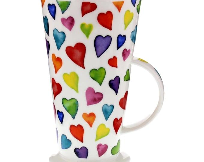 Gift Under 50   Tall Coffee Mug   Dunoon English Bone China   Hearts Mug   Caroline Bessey