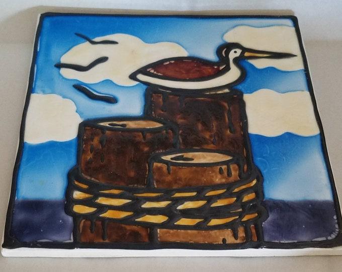 6x6 Tile | Sea Gulls | Coastal Seashore | Art Tile | Gifts Under 50