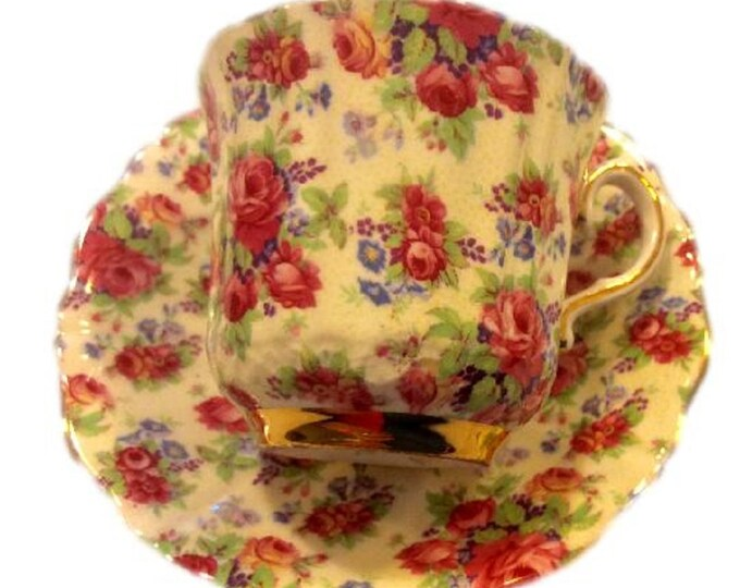 Ceramic Teacup | Old Royal Bone China Teacup | Roses Chintz Tea Cup Saucer