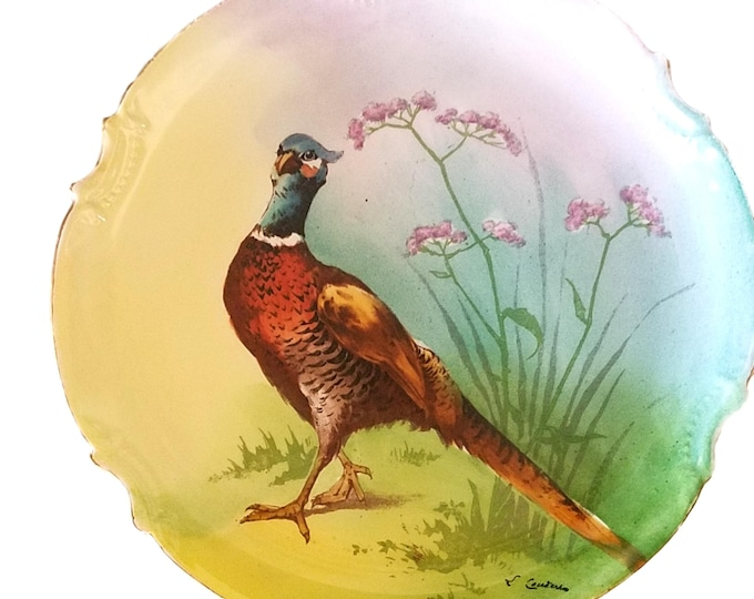 Limoges Coronet Pheasant Game Bird Charger Plate Artist Signed George Borgfeldt