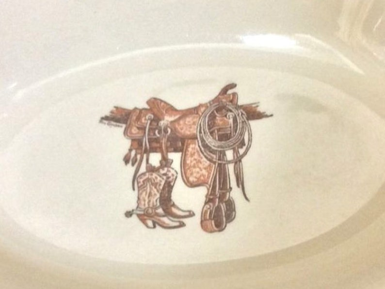Wallace China Vegetable Bowl Western Cowboy Decor Large Serving Dish Boots /& Saddle 11 Inch Oval