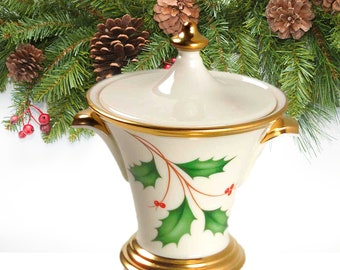 Vintage Sugar Bowl | Mikasa Sugar Bowl | Covered Sugar Bowl | Lenox Holiday Dimensions Sugar Bowl
