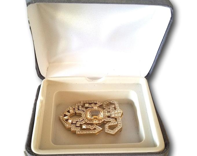 Vintage Elegant Carolee Brooch, Silver Rhinestones Goldtone Pin, Christmas 2020 Gift