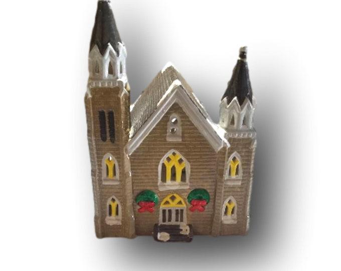 Rare Dept 56 Snow Village | Original 1986 Vintage Trinity Church | Christmas Villages