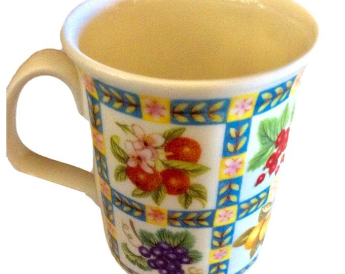 Royal Vale Bone China Coffee Mug, Fruit Design Coffee Mugs, Made in England, Coffee Gifts