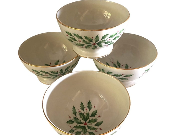 Set of 4 Christmas Footed Dessert Bowls | Lenox China | Dimensions Collection | Holly Berries