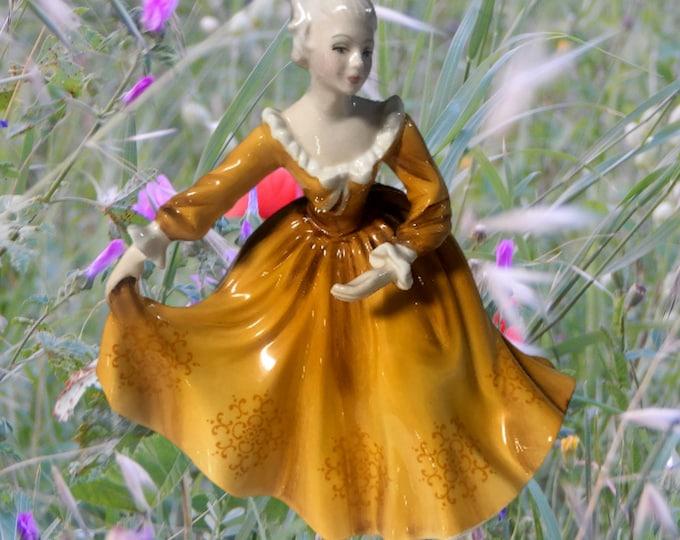 Royal Doulton English Figurine | Kirsty Figurine from England | Kirsty Orange Dress