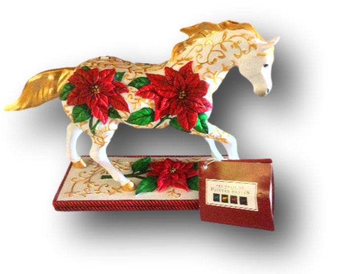Horse Gift For Women | Trail of Painted Ponies | Christmas Ranch Decor | Poinsettia Pony