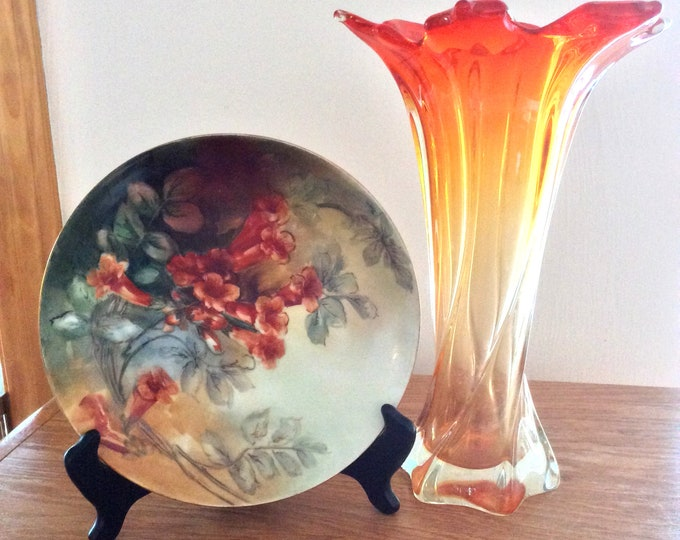 Vintage Haviland Hand Painted Wall Hanging Plate Trumpet Gloxinia Flowers