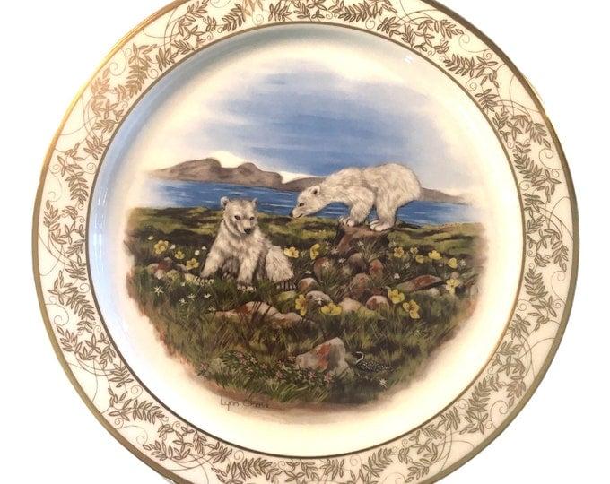 Polar Bears Gift Under 50 | Ivory Porcelain Wall Plate | Nature's Nursery | Boxed Gift Plate | Lenox USA