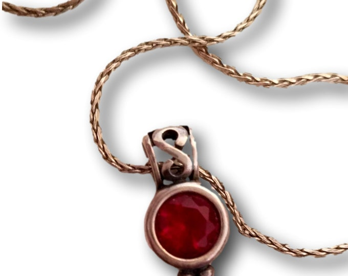 Avon Necklace, Faux Red Ruby, Pendant Necklace, Sterling Silver Chain