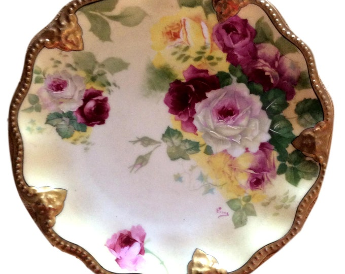 Limoges China Plate   Avenir France   Hand Painted Roses   Artist Signed Plate