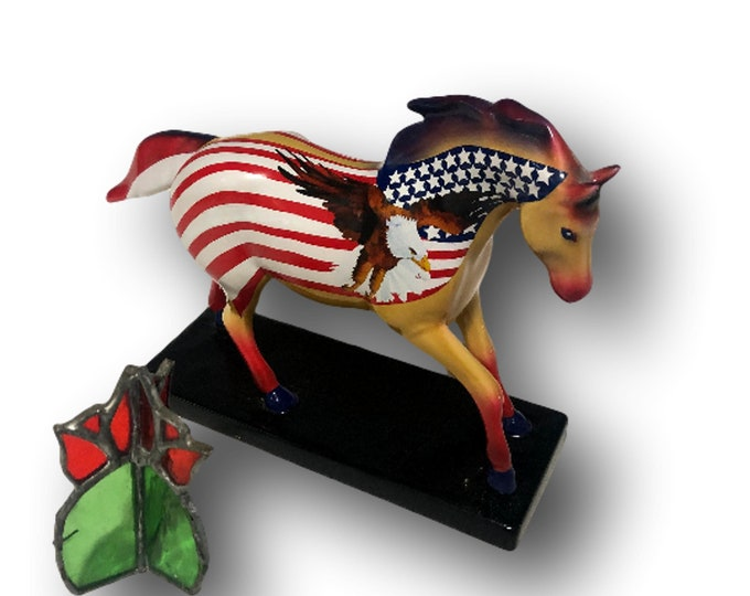 Trail of Painted Ponies Figurine | Ceramic Horse Figurine | Give Me Wings | Patriotic Home Decor