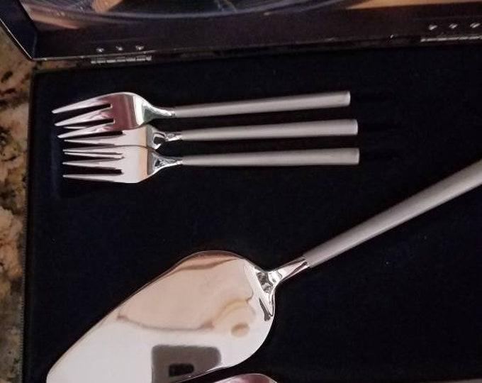 Amefa Stainless Flatware Dessert Forks & Cake Server, Holland