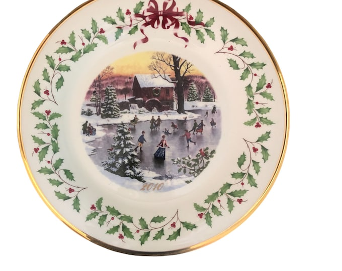 Lenox China Annual Wall Plate | Holiday Christmas Collectible Plate | Ice Skaters