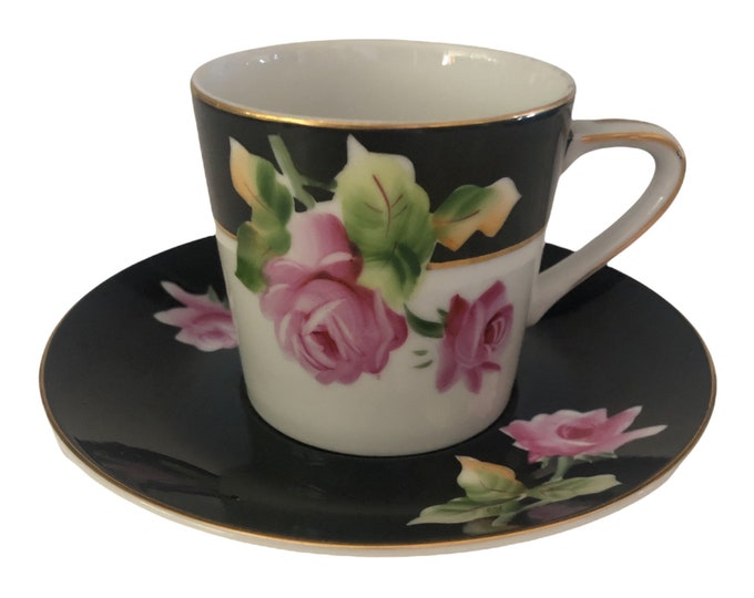 Gifts Under 50 | Lefton Tea Set  | Teacup and Saucer Set | Black White and Pink Roses