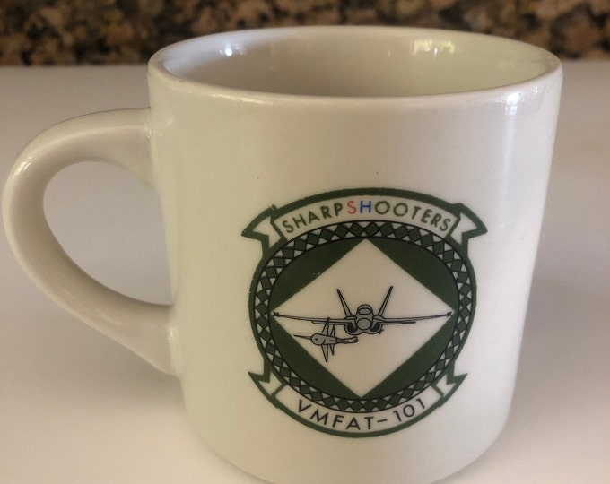 Vintage Marines Mug   USMC VMFAT-101 Sharpshooters Mug   Coffee Mug   Chris Mug   Restaurant Ware Mug   Gifts Under 50